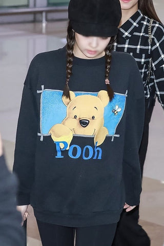 Black Pooh Graphic Blackpink Jennie Casual Sweatshirts Crew Neck Tops