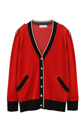 Red Napoleon Cardigans Womens V-Neck Blackpink Lisa Kpop Girl Celeb