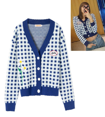 Blue Plaids Cropped Cardigans Womens V-Neck Blackpink Lisa Kpop Star
