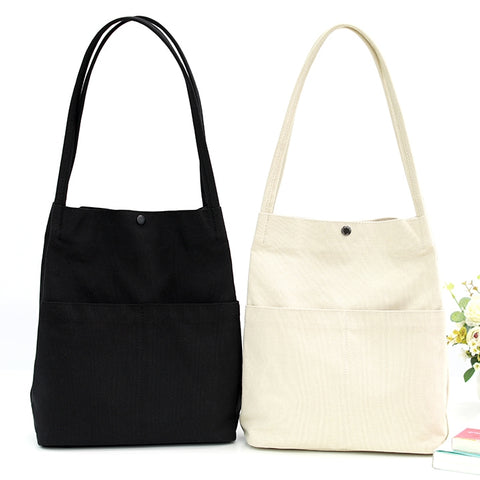 New Unisex Shoulder Eco Bags Casual Canvas Cotton Purses Made In Korea