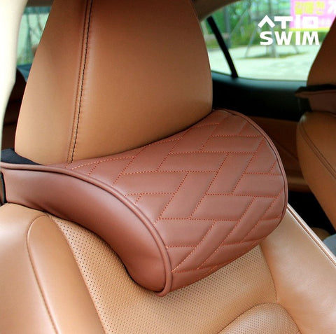 Car Memoryfoam Neck Cushion 1p Auto car Headrest leather Type Pillow