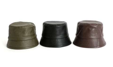 Vintage Faux Leather Bucket Hats Unisex Korean Style Street Accessory