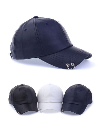 Piercing Trim Baseball Caps Solid Faux Leather Hats Adjustable Korean
