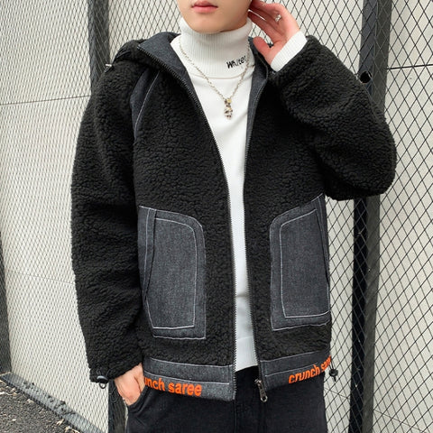 Black Denim Shearling Hybrid Hoodies Mens Streetwear Hooded Jackets