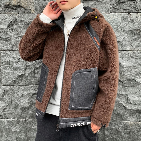 Brown Denim Shearling Hybrid Hoodies Mens Streetwear Hooded Jackets