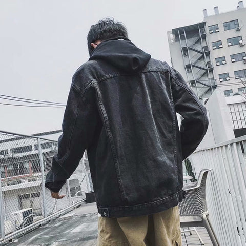 Black Denim Detachable Hooded Jackets Mens Vintage Kpop Streetwear Guy