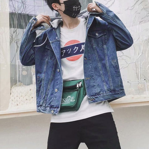Blue Denim Detachable Hooded Jackets Mens Vintage Kpop Streetwear Guy