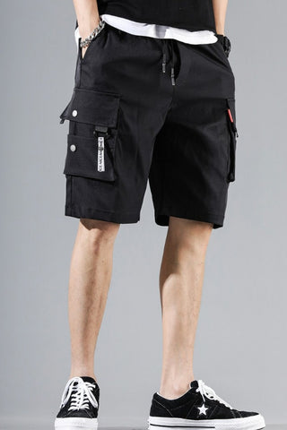Black Waistband Mens Cargo Shorts Casual Streetwear Solid Pocket