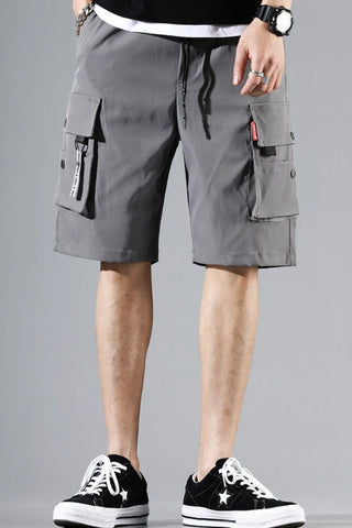 Gray Waistband Mens Cargo Shorts Casual Streetwear Solid Pocket