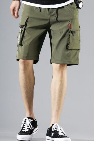 Khaki Green Waistband Mens Cargo Shorts Casual Streetwear Solid Pocket