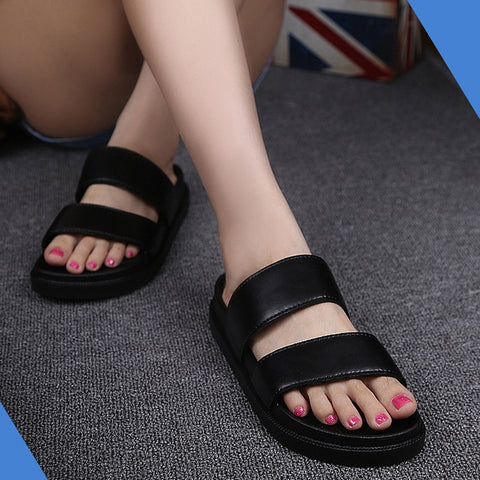 Black Faux Leather Unisex Sandals Slippers Summer Shoes Mens Womens