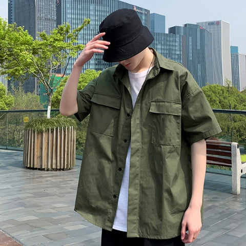 Khaki Solid Button Front Casual Shirts Mens Short Sleeved Military Guy
