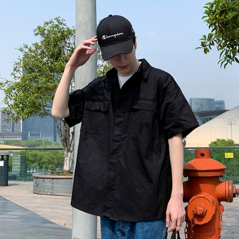 Black Solid Button Front Casual Shirts Mens Short Sleeved Military Guy
