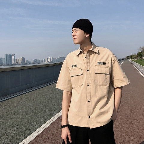 Beige Plain Button Front Casual Shirts Mens Short Sleeved Military Guy
