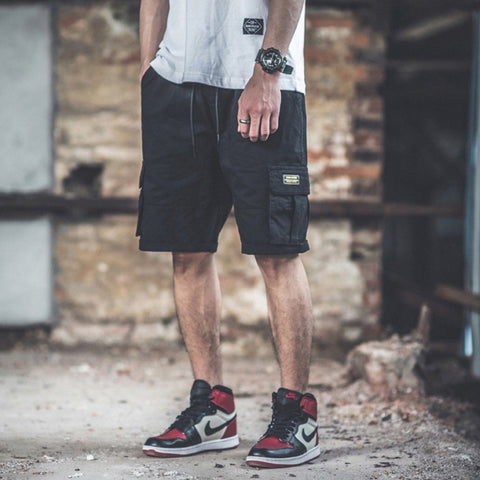 Black Waistband Mens Cargo Shorts Casual Streetwear Stylish Guys
