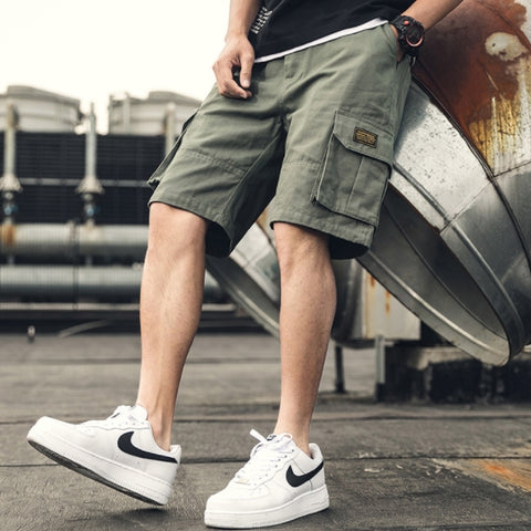 Khaki Green Waistband Mens Cargo Shorts Casual Streetwear Stylish Guys