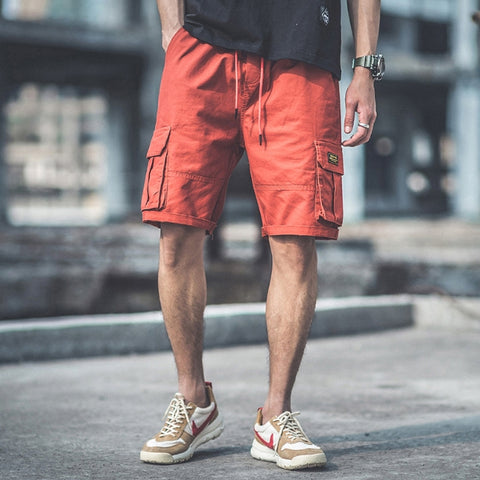 Orange Waistband Mens Cargo Shorts Casual Streetwear Stylish Guys