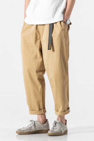 Beige Cotton Waistband Pants Mens Trousers Loose Fit Casual Streetwear