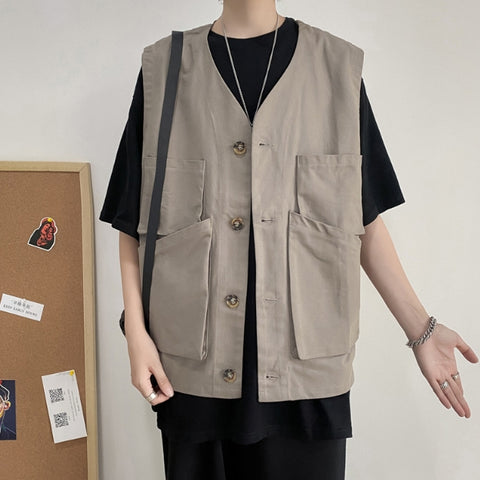 Gray Multi Pockets Waistcoats Casual Vests Mens Sleeveless Military