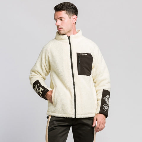 Ivory Shearling Mockneck Zipup Jackets For Men Streetwear Winter