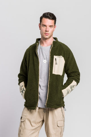 Khaki Green Shearling Mockneck Zipup Jackets For Men Streetwear Winter