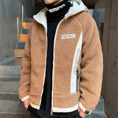 Beige YEEMEST Shearling Hoodies Mens Streetwear Hooded Jackets Winter