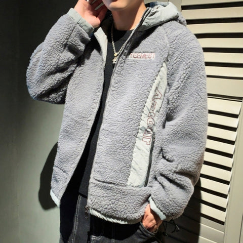 Gray YEEMEST Shearling Hoodies Mens Streetwear Hooded Jackets Winter