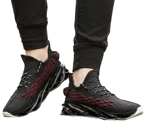Black Knit Athletic Sneakers Mens Shoes Casual Running Essentials