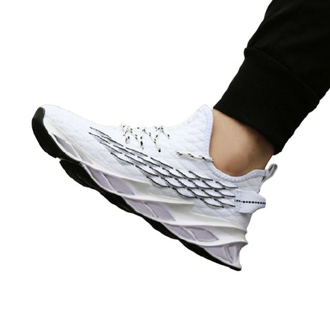 White Knit Athletic Sneakers Mens Shoes Casual Running Essentials