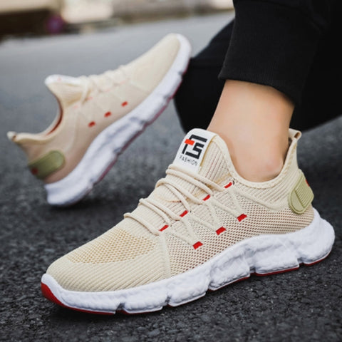 Beige Knit Athletic Sneakers Mens Shoes Casual Running Drawstring