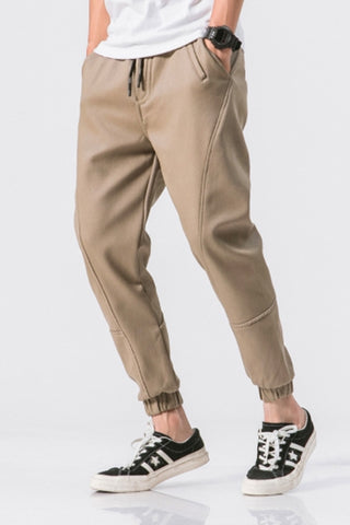 Beige Joggers Pants Cotton Waistband Mens Trousers Casual Streetwear