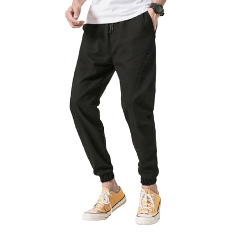 Black Joggers Pants Cotton Waistband Mens Trousers Casual Streetwear