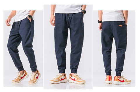 Navyblue Jogger Pants Cotton Waistband Mens Trousers Casual Streetwear