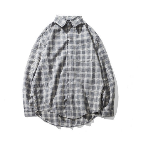 Gray Plaids Checkered Button Front Casual Shirts Mens Long Sleeved Tops