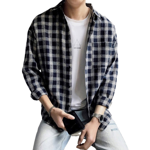 Navyblue Plaids Checkered Button Front Casual Shirts Mens Long Sleeved