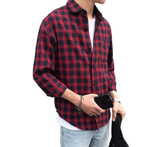 Red Plaids Checkered Button Front Casual Shirts Mens Long Sleeved