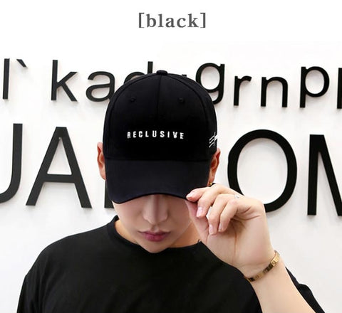 Black RECLUSIVE Graphic Baseball Caps Kpop Style Unisex Cotton Hats