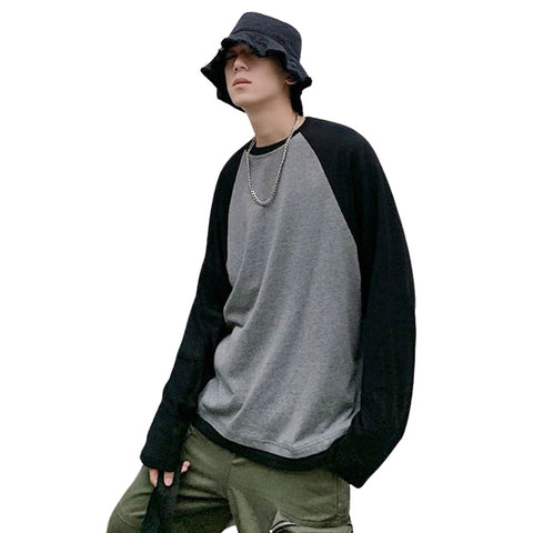 Black And Grey Baseball Crewneck Raglan Long Sleeved Tshirts Tees Tops