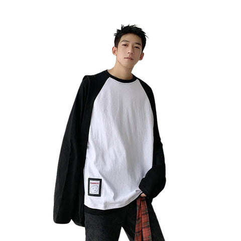 Black And White Baseball Crewneck Raglan Long Sleeved Tshirts Tees Top