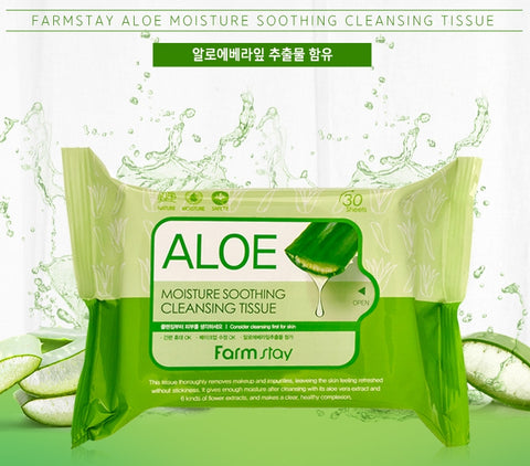 Farm Stay ALOE MOISTURE SOOTHING CLEANSING TISSUE 120ml Womens Facial