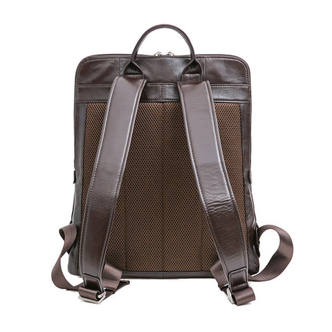 Brown Classic Genuine Cowhide Leather Laptop Mens Backpacks Square New