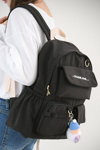 Black Cotton Casual Backpacks Womens Girls School Bookbag Keychain New
