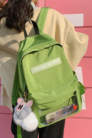 Green Cotton Casual Backpacks Lovely Girls School Bookbag Mesh Poacket