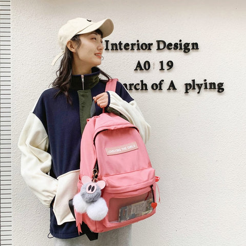 Pink Cotton Casual Backpacks Lovely Girls School Bookbag Mesh Poacket