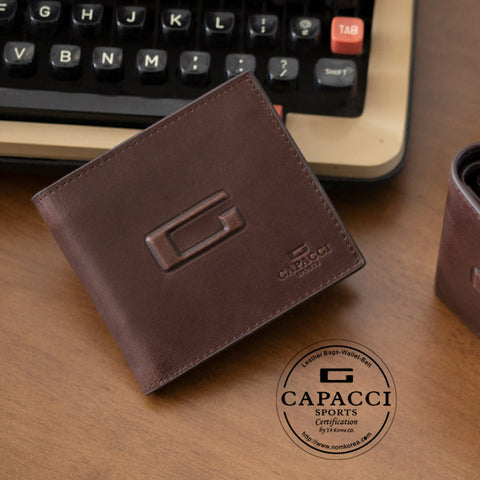 CAPACCI Logo Genuine Cowhide Leather Wallets Mens Foldable Purse