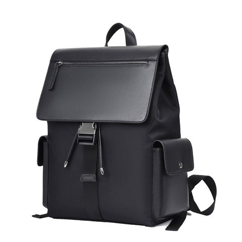 Black Faux Leather Combi Laptop Backpacks For Men Travel Luggage Strap