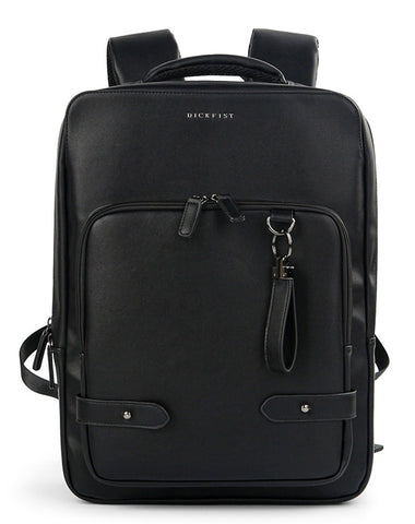 Black Faux Leather Backpack Square Travel Luggage Trolley Strap Laptop