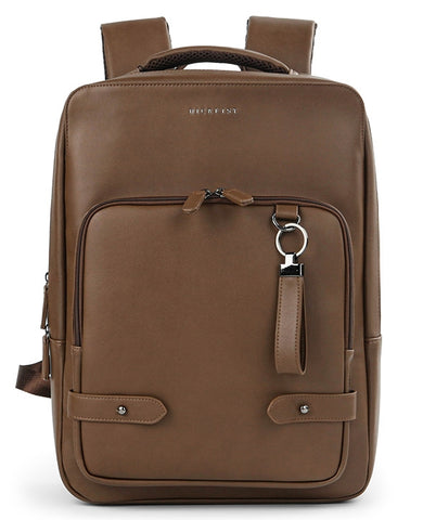 Brown Faux Leather Backpack Square Travel Luggage Trolley Strap Laptop