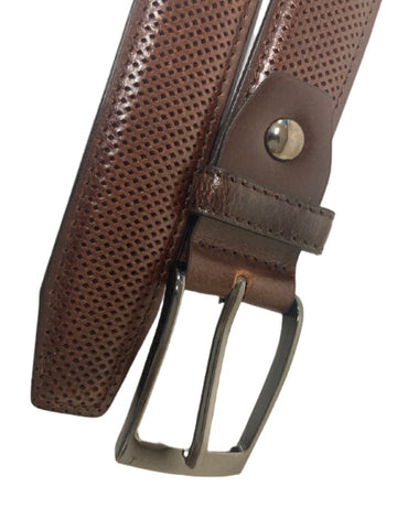 Brown Checkered Leather Belts Mens Accessories Buckle Business Casual