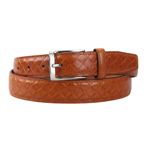 Camel Mesh Leather Belts Mens Accessories Buckle Business Casual Suit